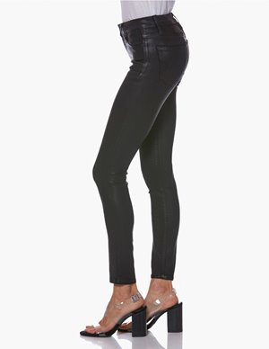 Paige hoxton skinny ankle jeans - black fog luxe coating side