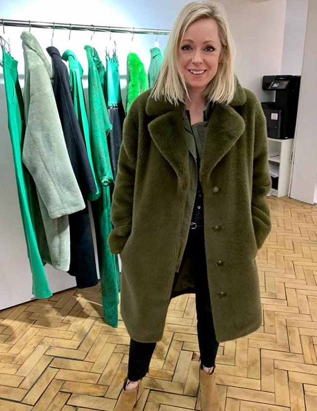 Stand Studio camille cocoon coat - army green