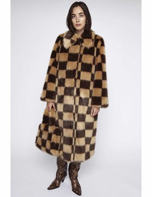 Stand Studio nino coat check - beige/brown back