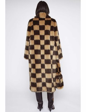 Stand Studio nino coat check - beige/brown detail
