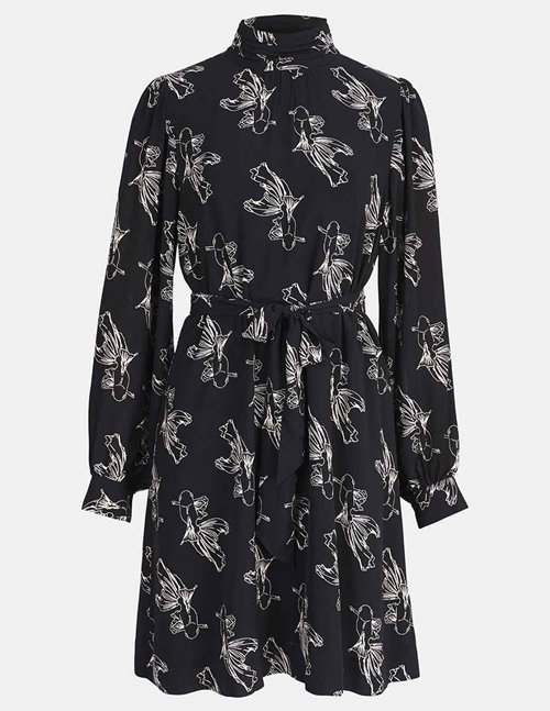 Essentiel Antwerp wealth high collar dress - black koi fish print