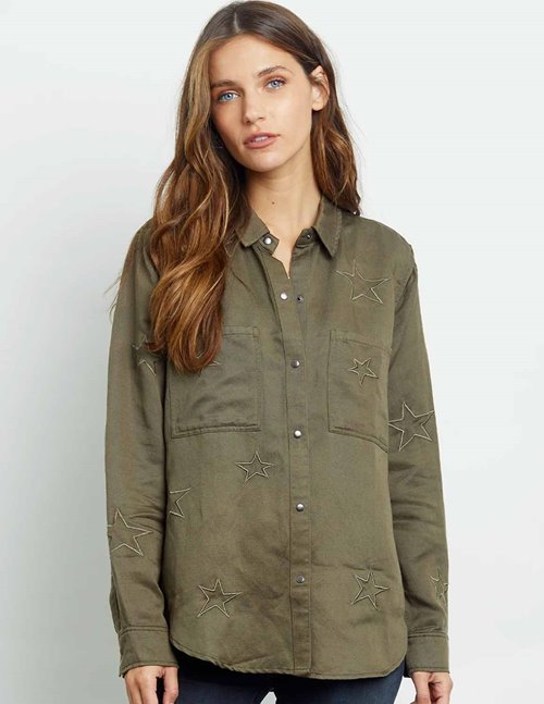 Rails marcel shirt jacket - olive embroidered stars