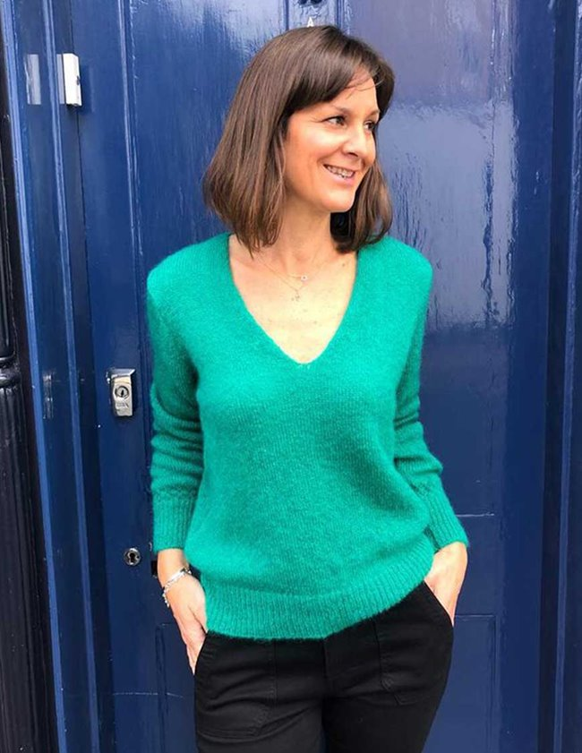 Maison Anje lecourbe v-neck - green back