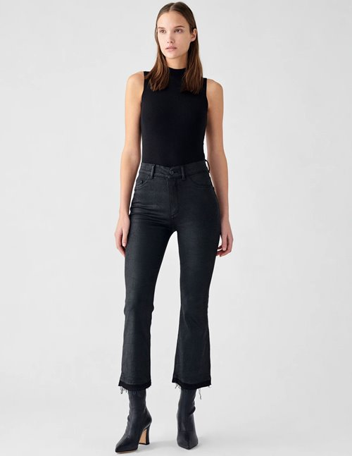 DL1961 bridget bootcut crop jeans - harker, black coated