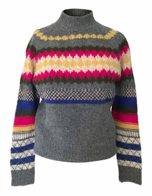 Leon & Harper ninties jumper - grey / multi back
