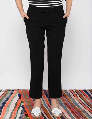 Leon & Harper Palmora Straight Black Trousers back