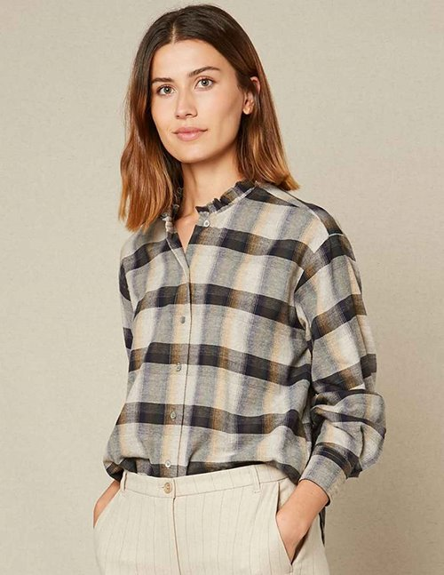 Hartford christie shirt - grey / blue / beige check