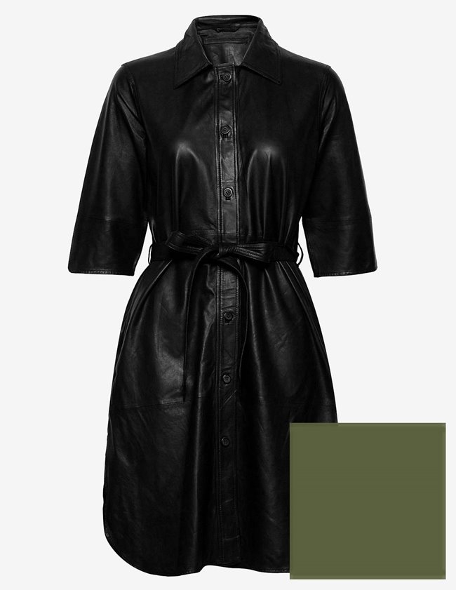 MDK clare thin leather dress - dark green model