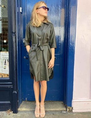 MDK clare thin leather dress - dark green