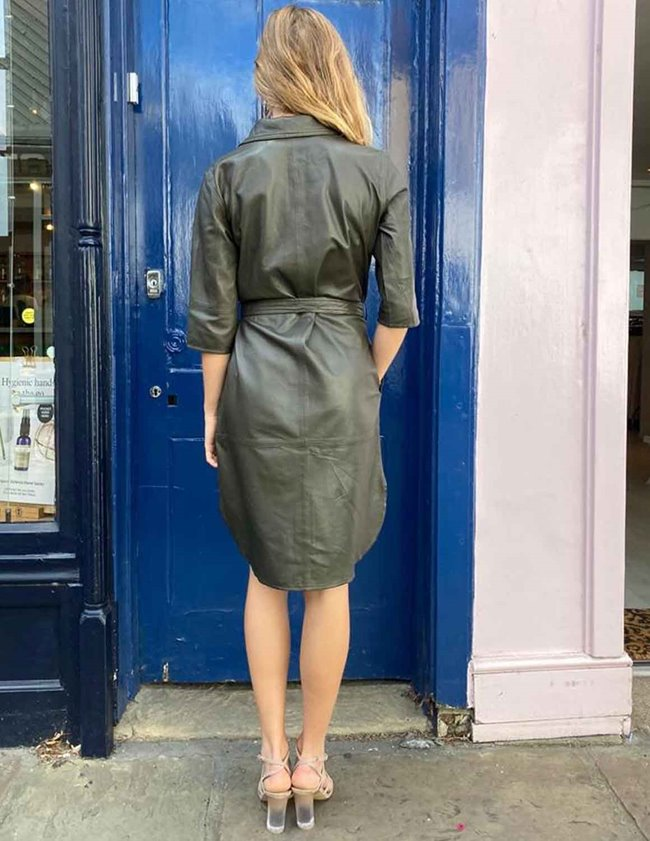 MDK clare thin leather dress - dark green detail