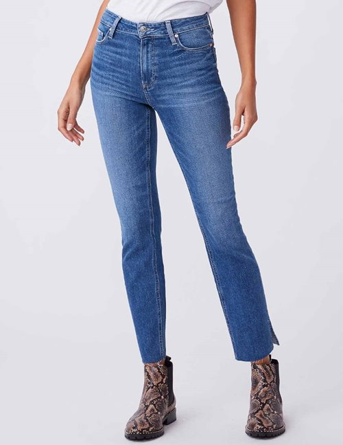Paige cindy slit raw hem jeans - roadhouse vintage blue
