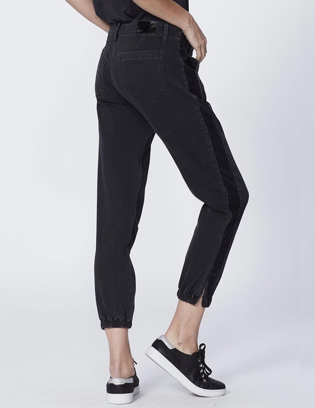 Paige mayslie jogger - black with velvet side stripe detail