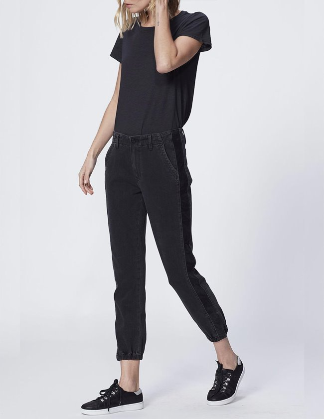 Paige mayslie jogger - black with velvet side stripe side