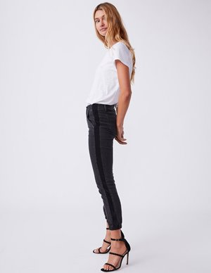 Paige mayslie jogger - black with velvet side stripe