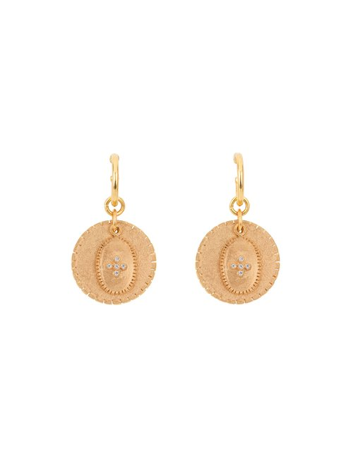 Une A Une bojmb medal earrings - gold / white zircon