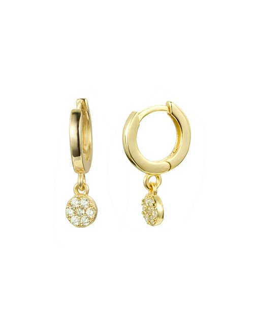 Une A Une bomrsb mini hoop earrings - gold / white zircon