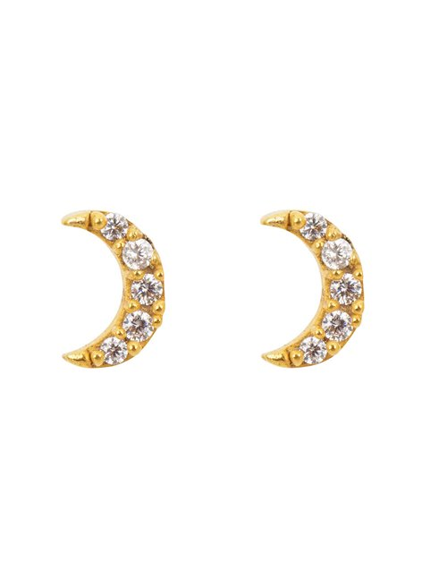 Une A Une bonmw moon earrings - gold / white zircon