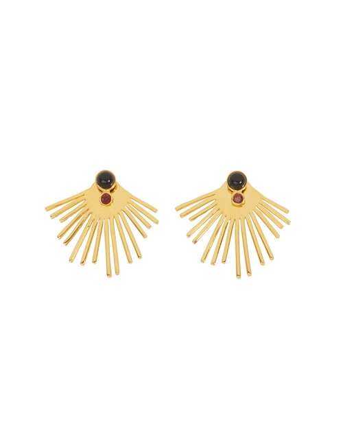 Une A Une bosng sun earrings - gold / black onyx / garnet
