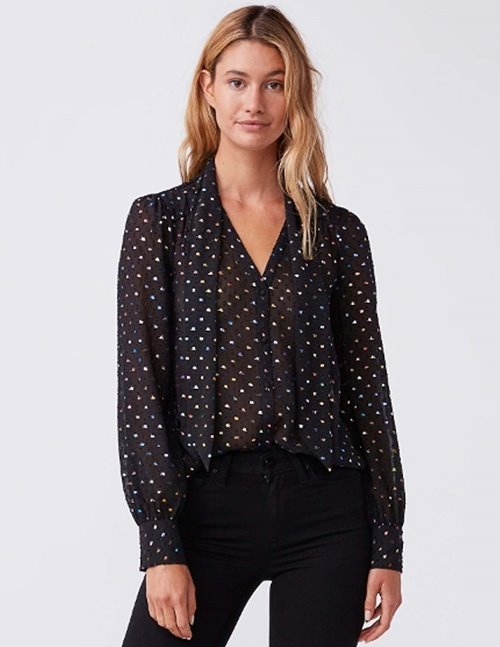 Paige cleobelle blouse - black metallic