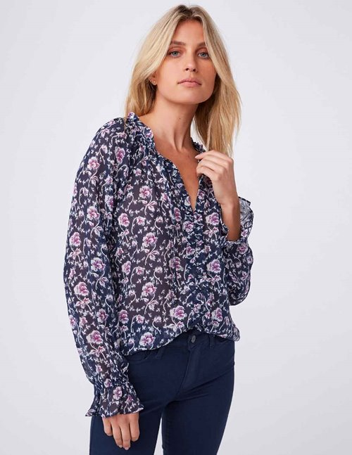 Paige roma blouse - dark ink blue