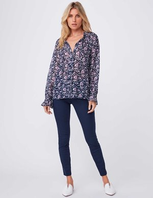 Paige roma blouse - dark ink blue side