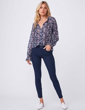 Paige roma blouse - dark ink blue back