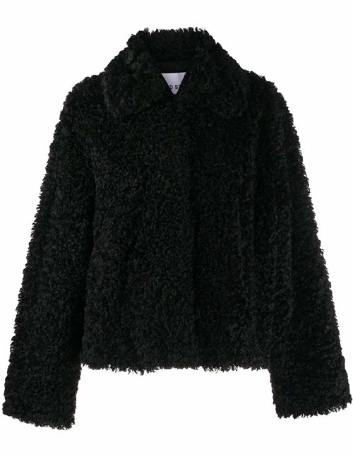 Stand Studio marcella jacket - curly black faux fur
