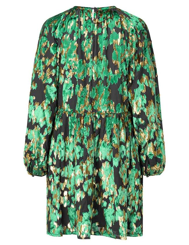 Stine Goya sienna dress - green velvet jacquard model