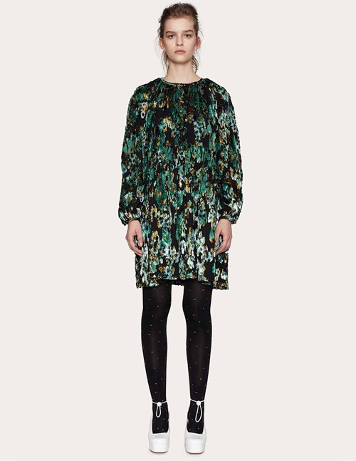 Stine Goya sienna dress - green velvet jacquard