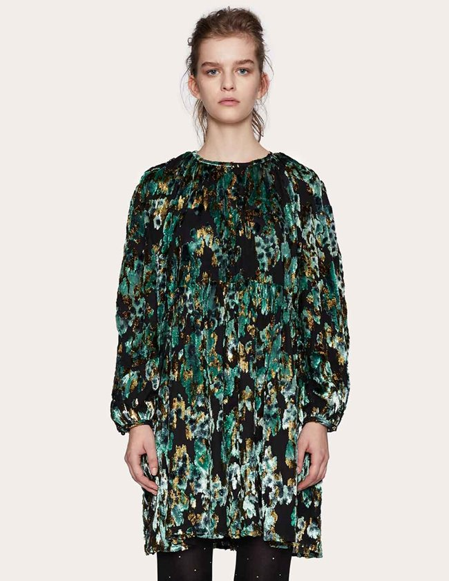 Stine Goya sienna dress - green velvet jacquard side