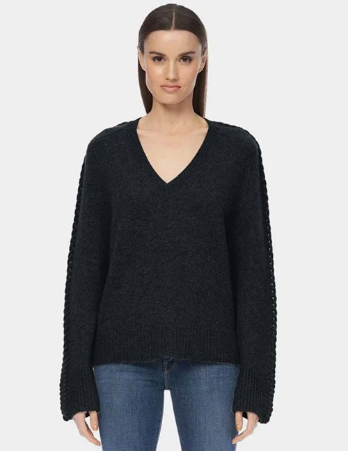 360 Cashmere kandice v neck jumper - black